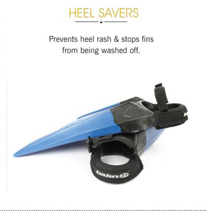 מגן עקבים של חברת Balin ( החברה בונה מוצרים נלווים לבוגי כבר משנות ה 70 ) ה Heel Saver הוא ריפוד לרצועות של הסנפירים ומונע שפשפות בעקב והחלקה של הסנפיר מהרגל מתאים לגלושים בכל הרמות