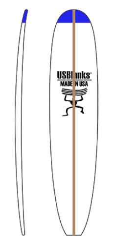 """קצף לבניית גלשן מגובה """"1'8 ועד גובה """"0'10 מ-EPS / PU של US Blanksקצף איכותי המיוצר בארה""""ב."""